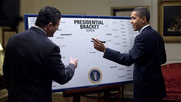 March Madness is so awesome, even the President fills out a bracket. (He's wrong just as often as everyone else)