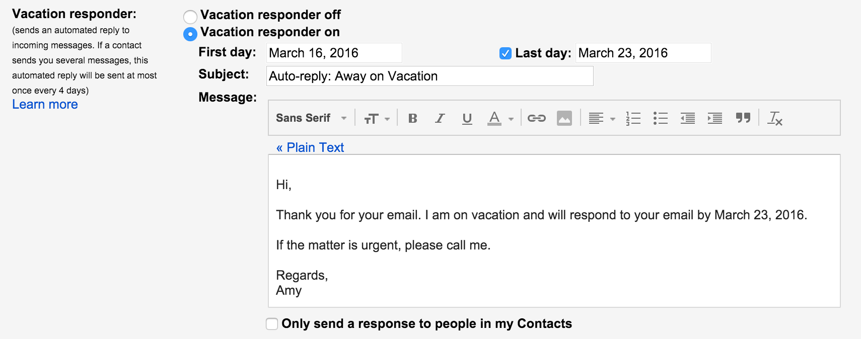 Vacation Message On Gmail How To Create A Vacation Away
