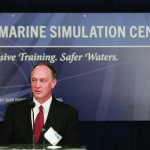 Wright at the launch of the Marine Simulation Centre in 2010