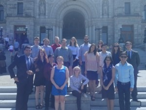 Members of Alliance of BC Students - including Rebecca Davidson and Eirene Cloma from the BCITSA - in front of the legislature in Victoria Photo courtesy of Rebecca Davidson