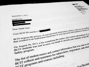 A letter was sent to students affected by the privacy breach. Photo courtesy of Sarah Gray.