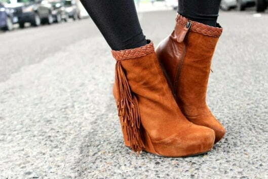 Dress up any outfit by simply adding booties, wedge or heel.  No matter how laid-back your attire is, even if it's just skinny jeans and a cable knit sweater, a heel is effortlessly fashionable and maintains a no-fuss presence.