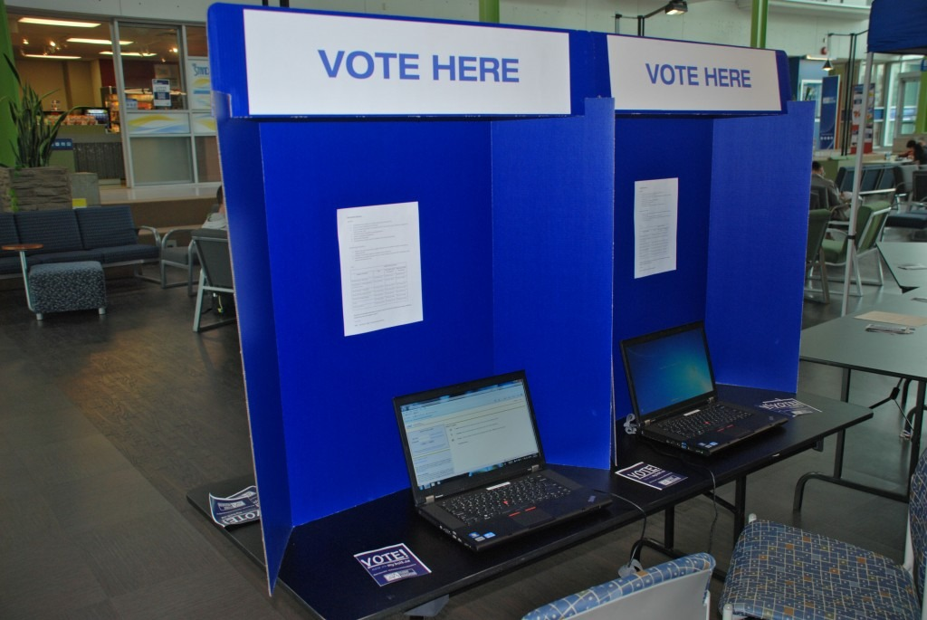 Voting stations in the Burnaby campus Great Hall.