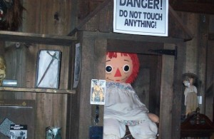 The alleged original Annabelle doll, now under lock and key at the Warrens' museum. (worldmediafiles.com)