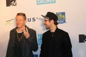 Hip hop duo Macklemore and Ryan Lewis on the red carpet at Vancouver's We Day