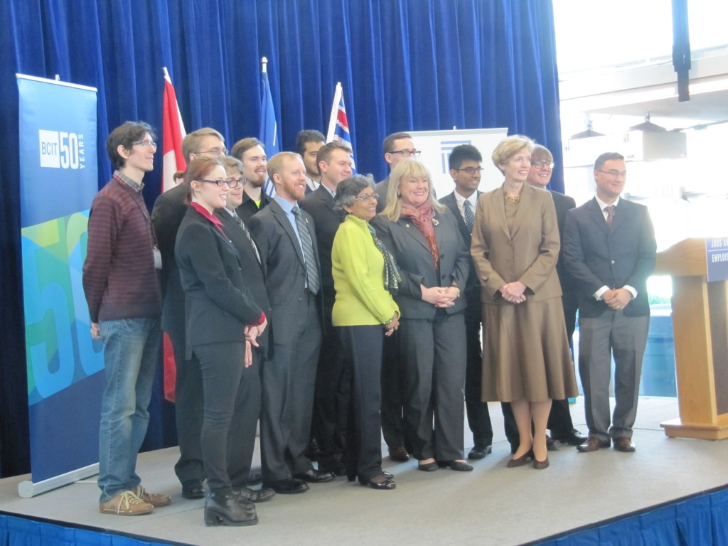 BCIT President Kathy Kinloch and teams from 11 polytechnics after making their pitches.