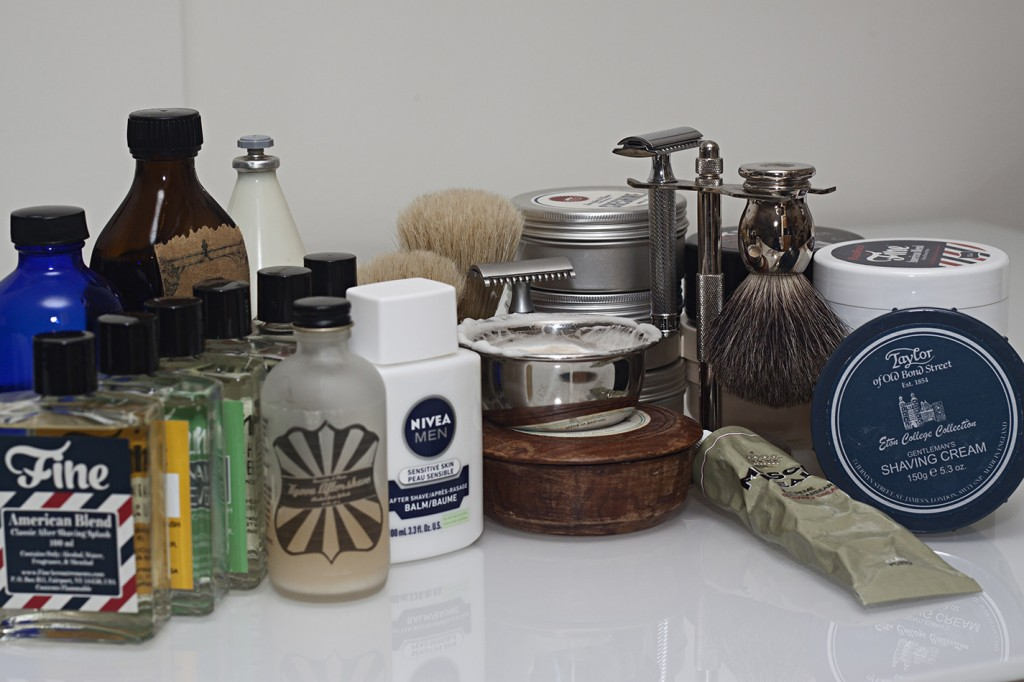 I wasn't kidding when I said the rabbit hole goes deep. I have: 2 preshave products, 8 soaps, 4 creams, 10 aftershaves, three brushes, two razors. Not pictured: Travel kit (Lives in my locker) with another razor, brush, etc.