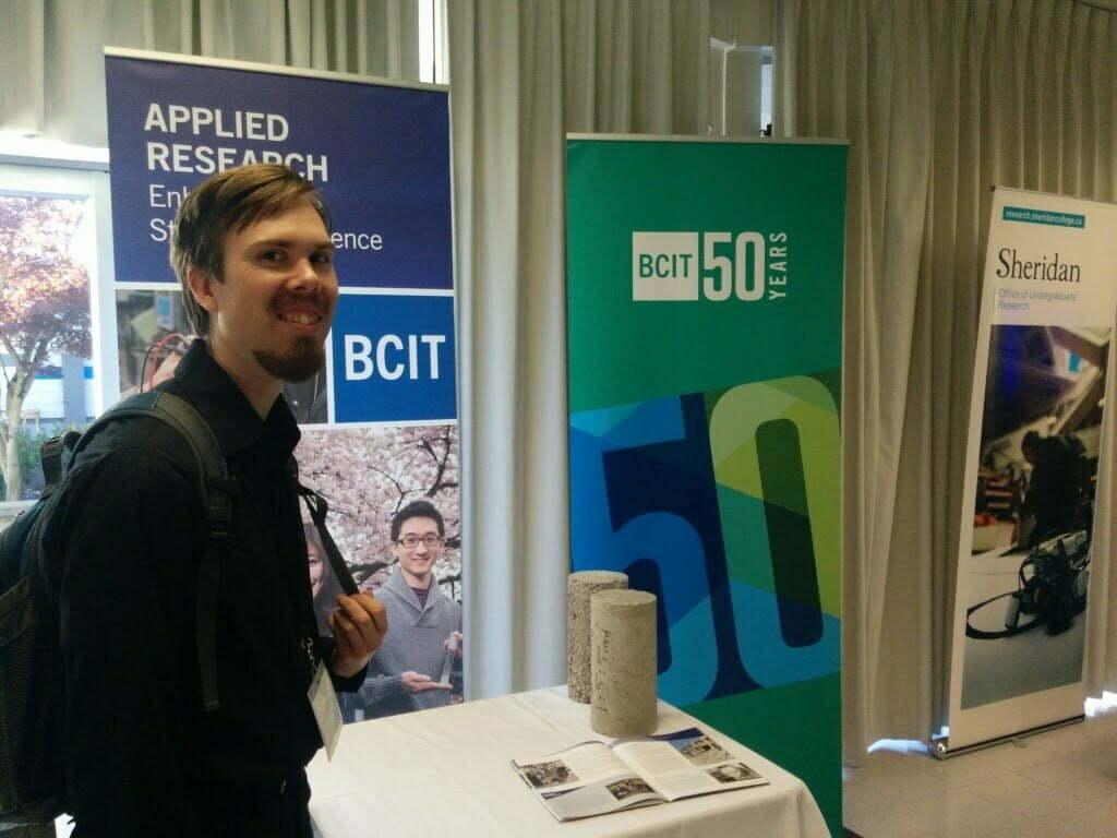 BCIT's entrant Joel Hooge, with his low cost concrete testing technique.