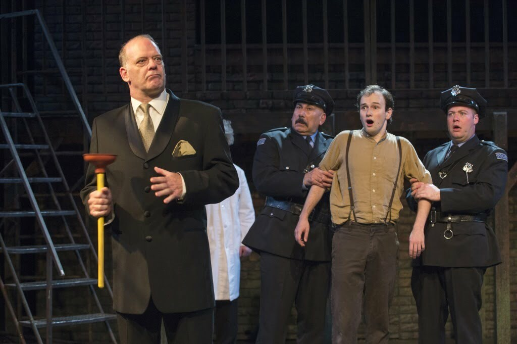 Andrew Wheeler as the villainous Caldwell B. Cladwell, corporate boss of Urine Good Company confronts Andrew Lipovetsky, the unlikely hero Bobby Strong (Photo: David Cooper)