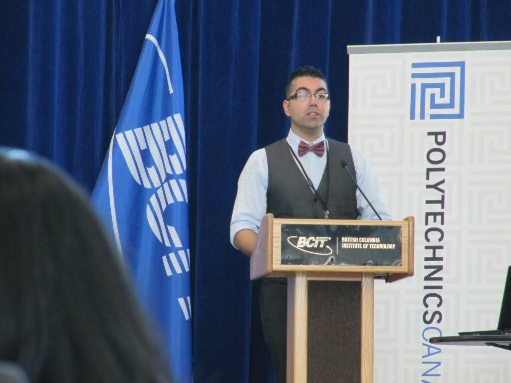 Richard Cunha from Ontario's Conestoga College making his winning presentation.