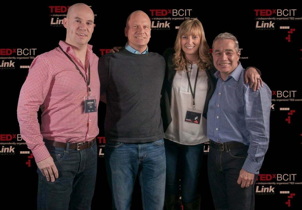 From left to right: TEDxBCIT speakers  Trevor Borland, Rick Gibbs, Heather White, Robert Murray