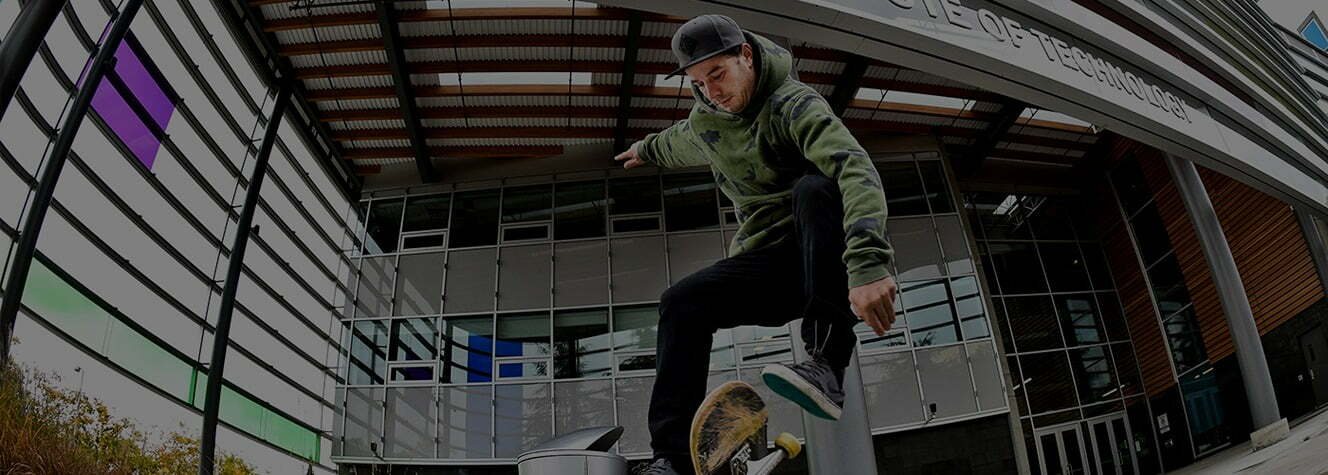 arts & culture feature image of guy doing ollie on skateboard