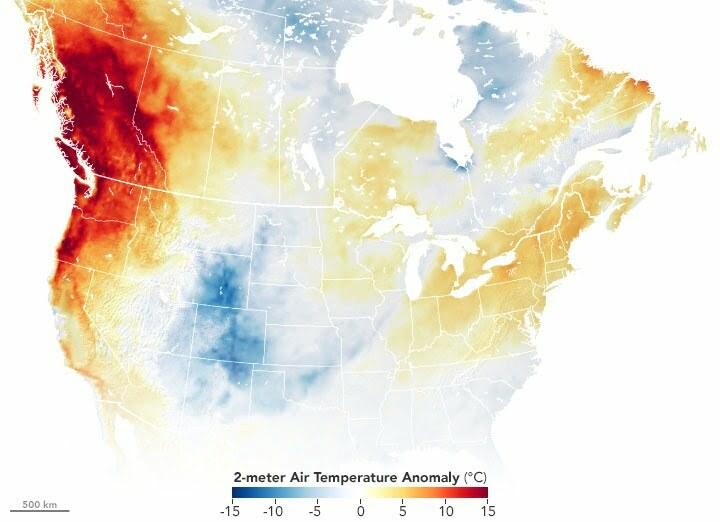 Temperature change in Canada